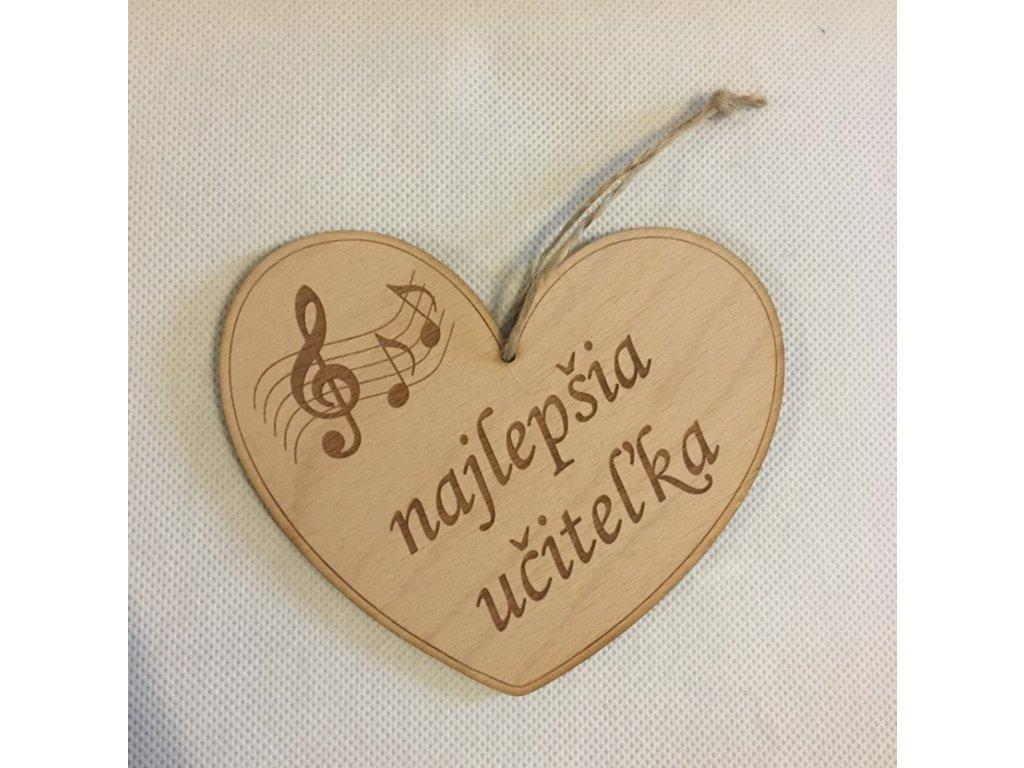 Dřevěné srdce s partiturou Najlepšia učiteľka