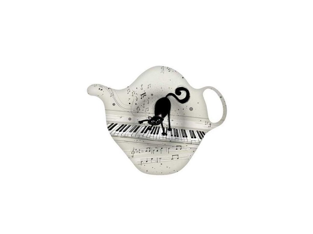 Talířek na čajové sáčky - KOČKA NA KLAVIATUŘE
