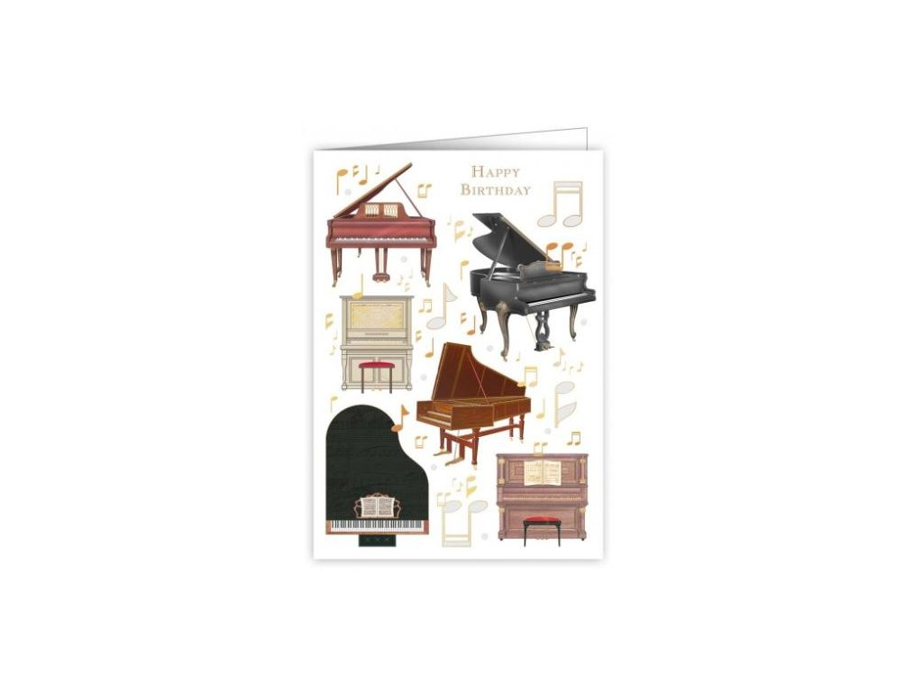 Embosované přání do obálky k narozeninám PIANO