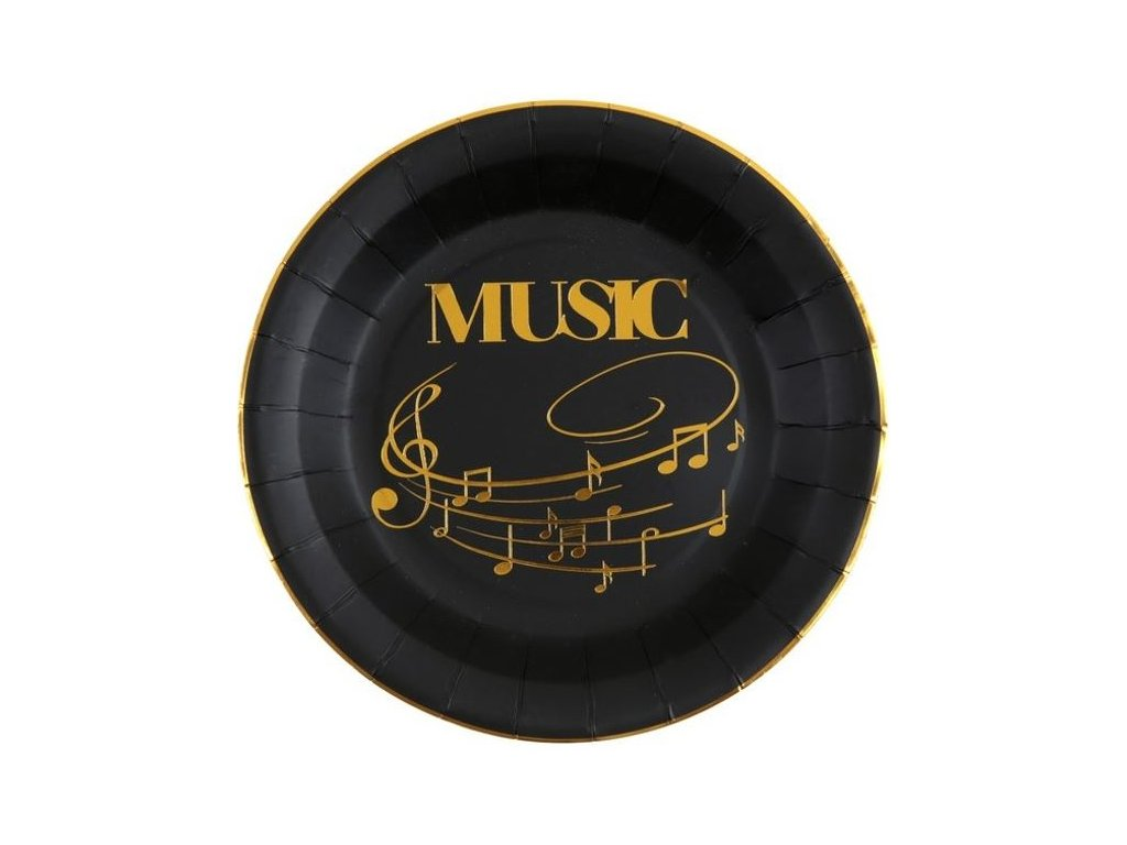 Papírové talíře music, černozlaté
