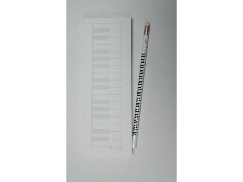 Poznámkový blok KLAVIATURA s magnetem a tužkou