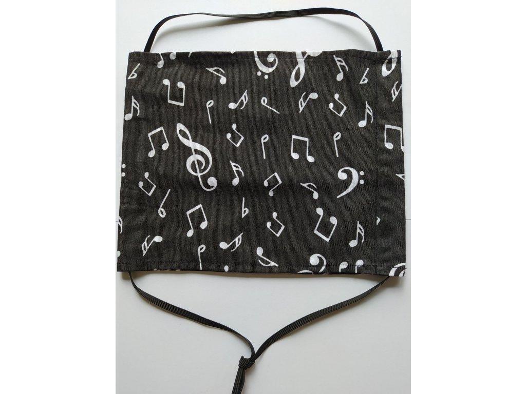 Bavlněná rouška s hudebními motivy - černá