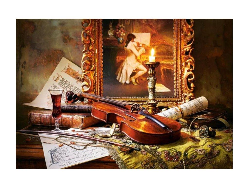 Puzzle zátiší housle 2