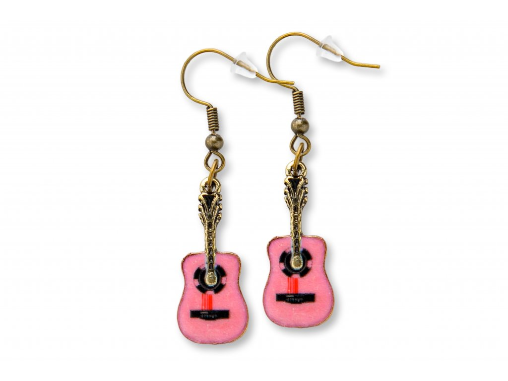 Náušnice klasické kytary, růžové