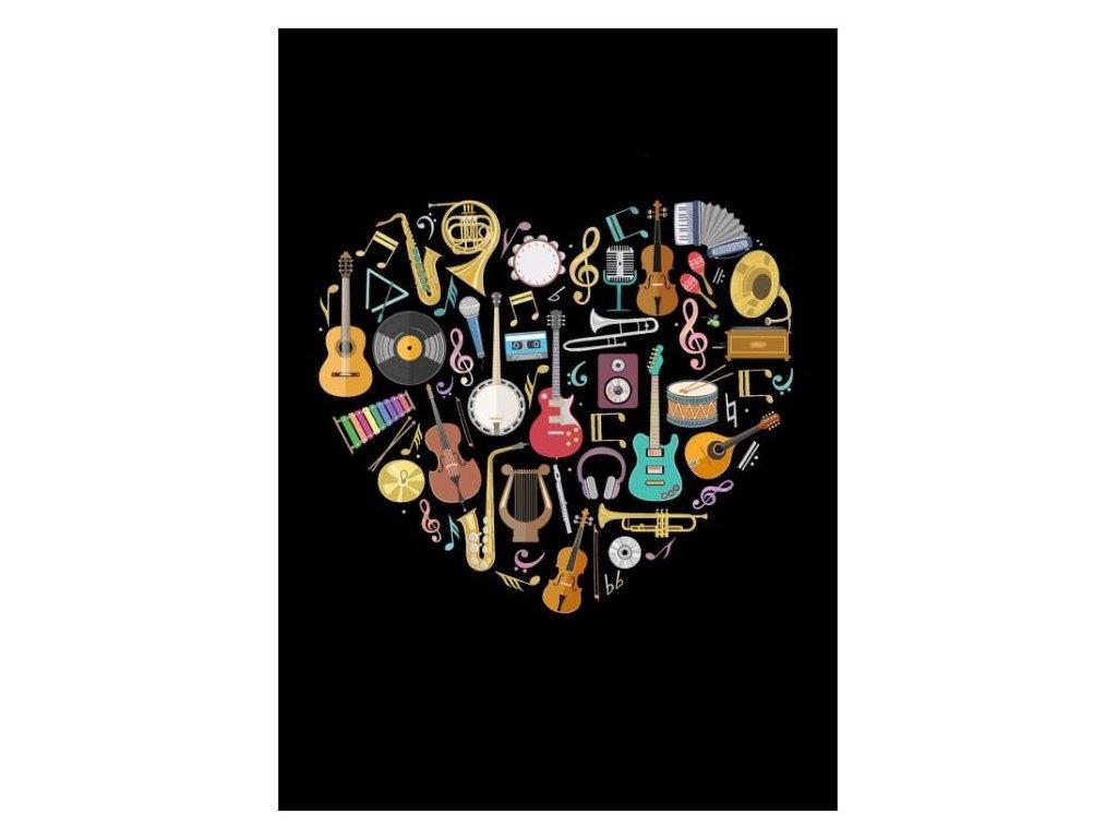 Embosované přání srdce s hudebními nástroji
