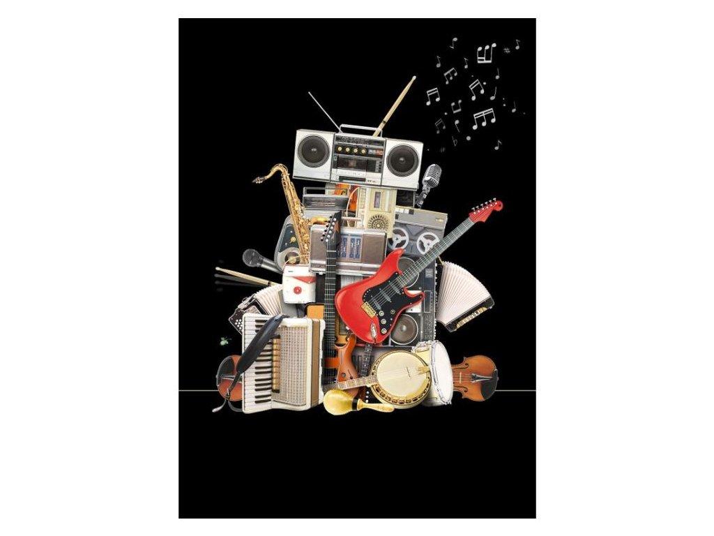 Přání do obálky robot z hudebních nástrojů