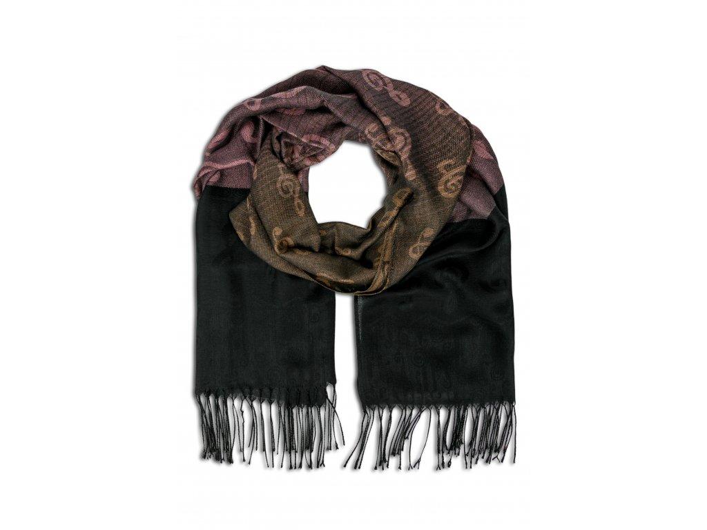 Elegantní šál s houslovými klíči růžovo černý (1)