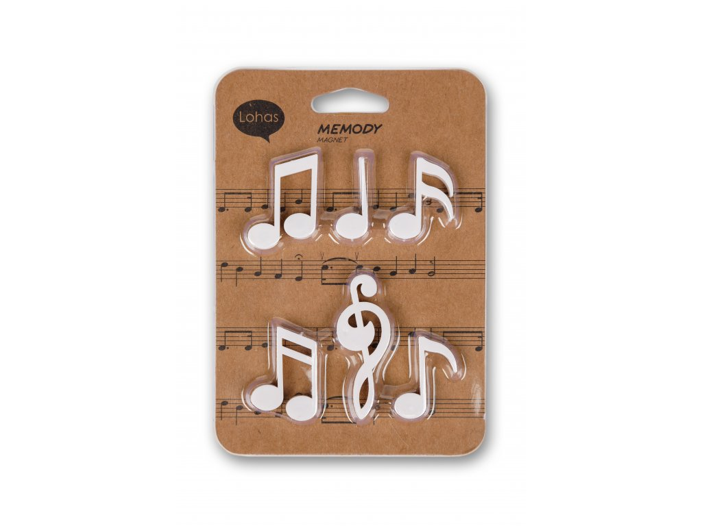 Sada magnetek Houslový klíč a noty, bílá (2)