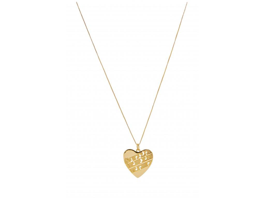 Náhrdelník srdce s partiturou, zlatý