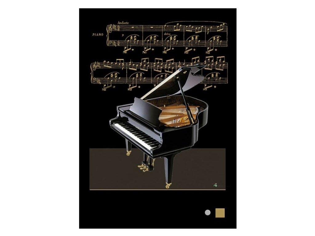 Embosované přání piáno klavír