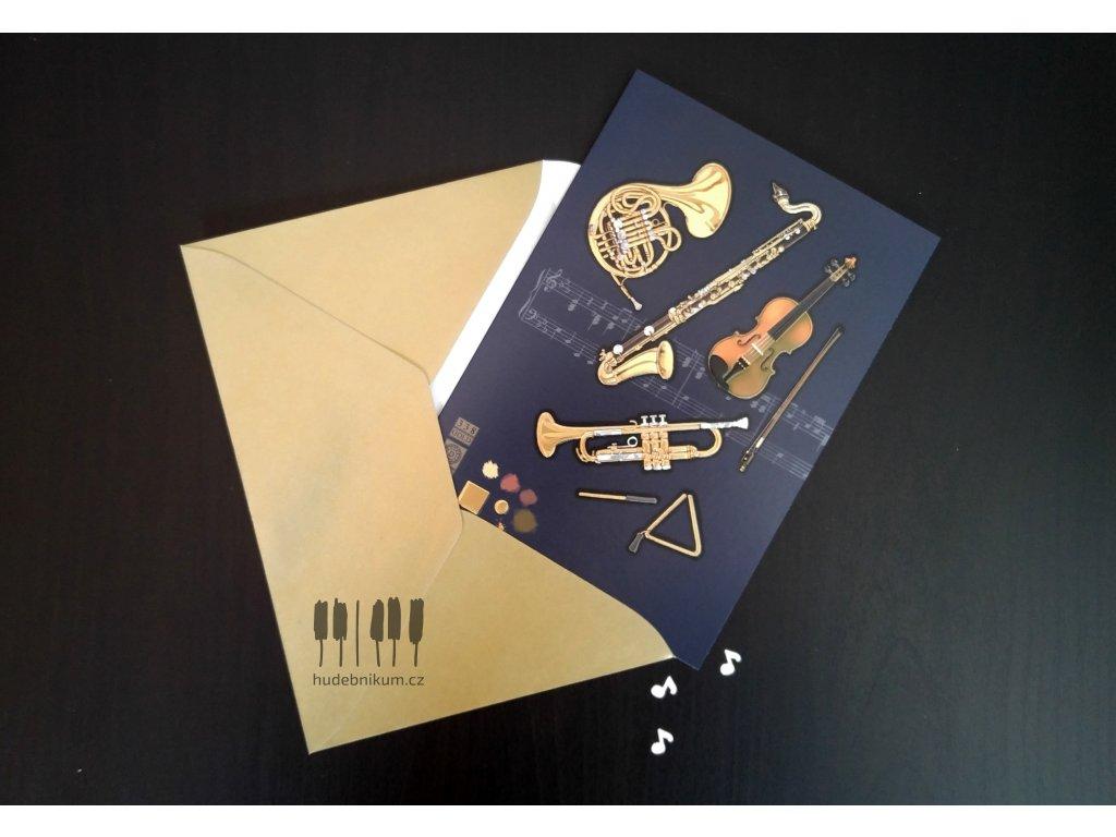 Embosované přání do obálky HUDEBNÍ NÁSTROJE