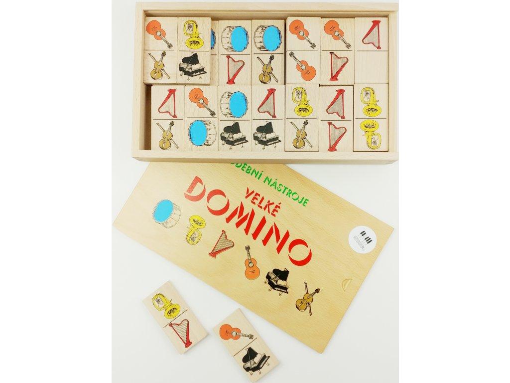 Dřevěné domino HUDEBNÍ NÁSTROJE - v bukové krabičce