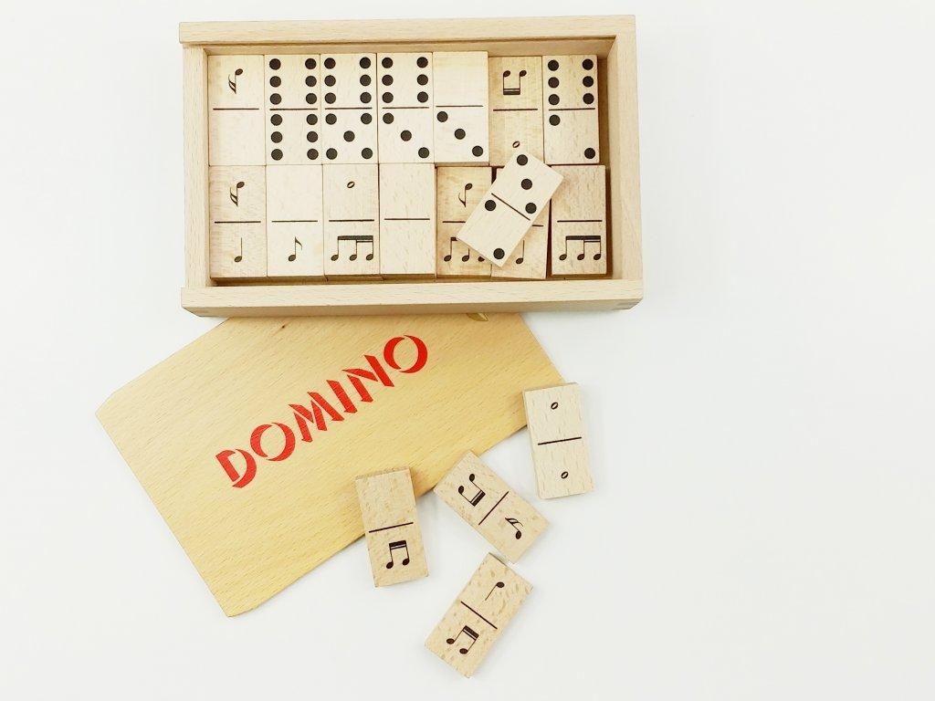 Dřevěné domino NOTY - v bukové krabičce OBOUSTRANNÉ