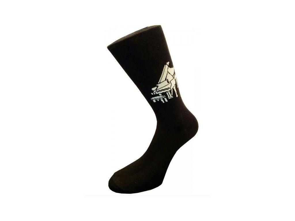 Pánské černé ponožky klavír