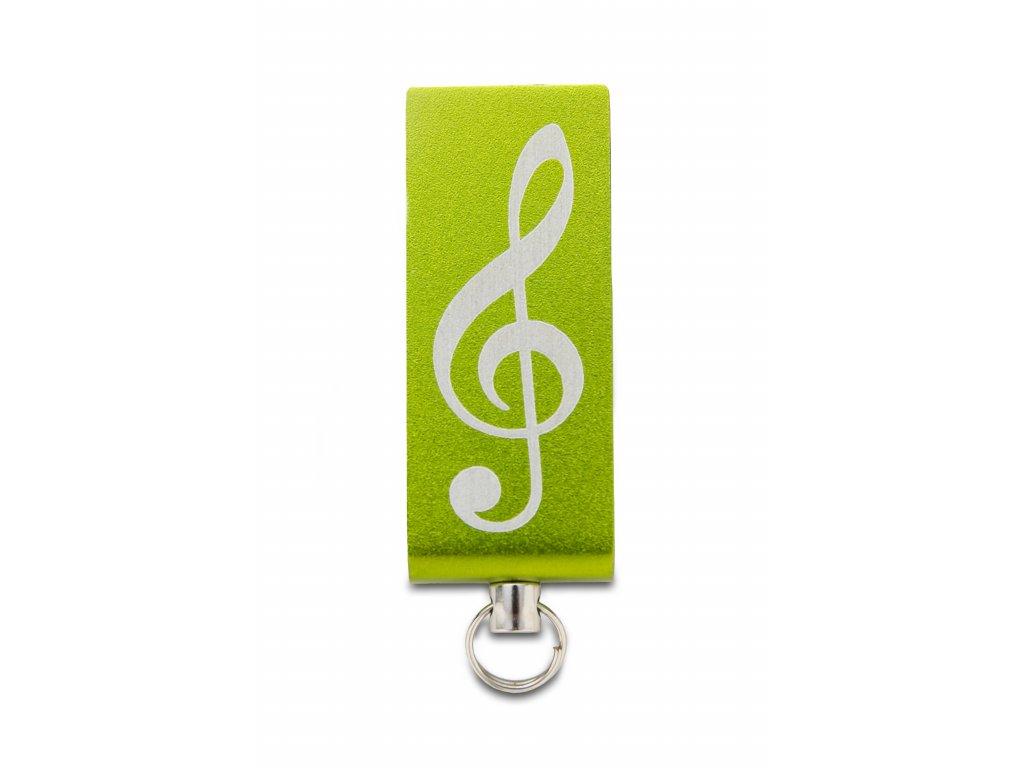 USB Flash disk mini 32 GB s gravírovaným houslovým klíčem, kov zelený (1)