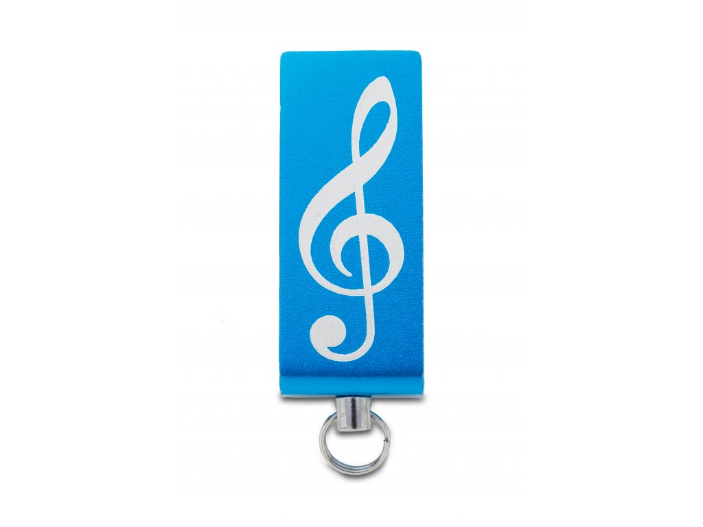 USB Flash disk mini 32 GB s gravírovaným houslovým klíčem, kov modrý (1)