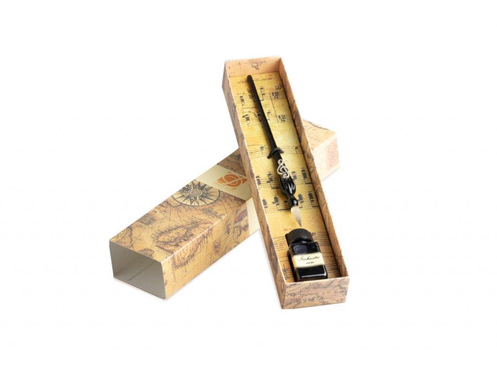 DDE003 Kaligrafická sada s houslovým klíčem skleněné pero a inkoust (1)