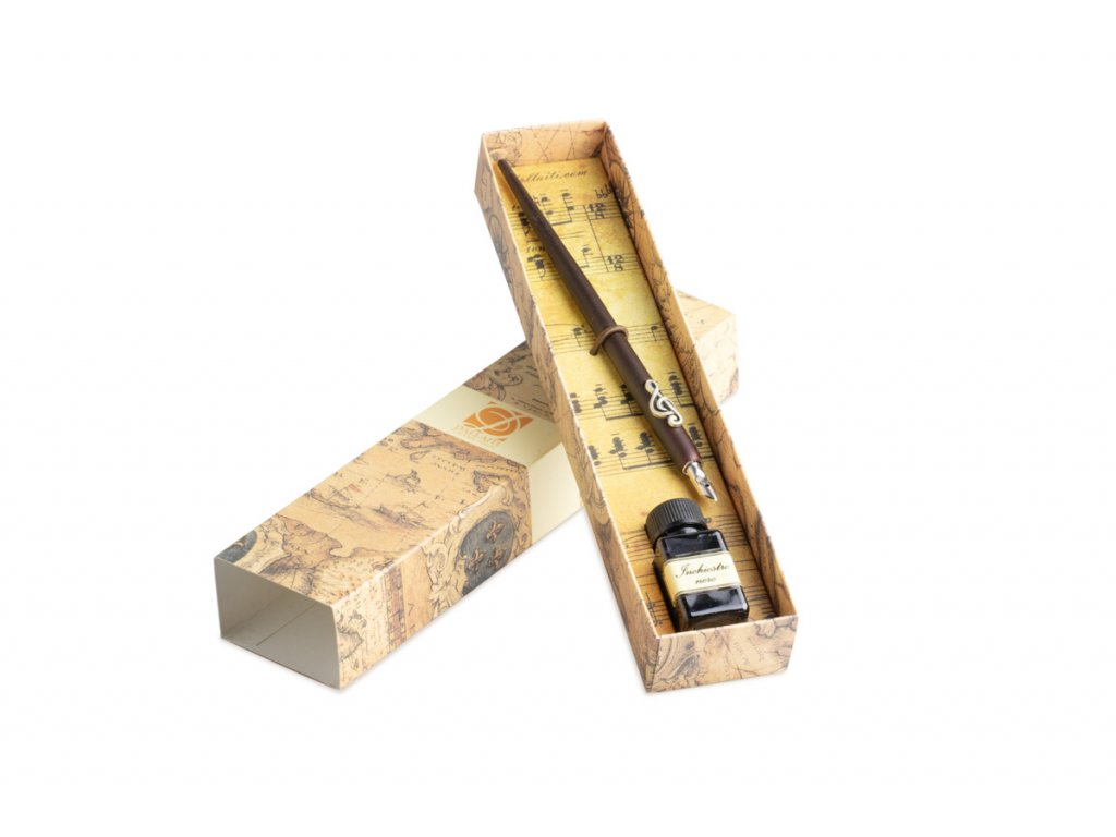 dde004 Kaligrafická sada s houslovým klíčem malá dřevěné pero a inkoust (1)