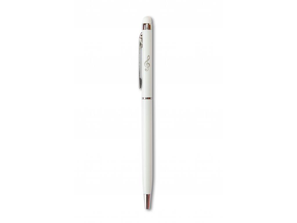 Kovové kuličkové pero se stylusem HOUSLOVÝ KLÍČ bílé