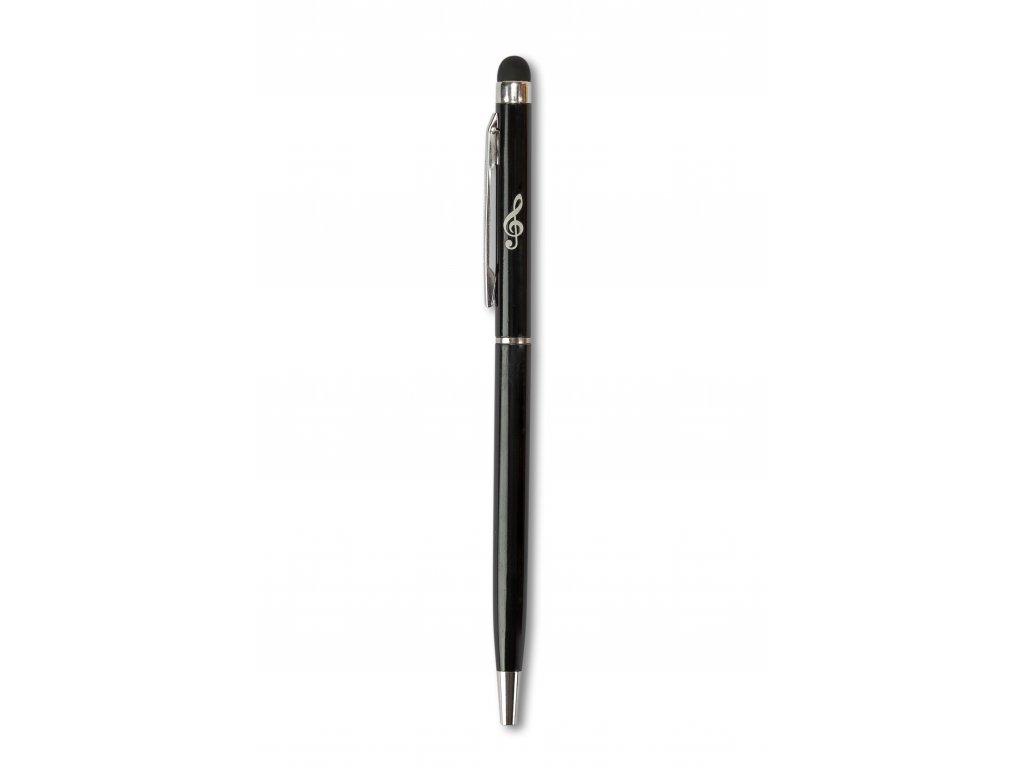 Kovové kuličkové pero se stylusem HOUSLOVÝ KLÍČ černé