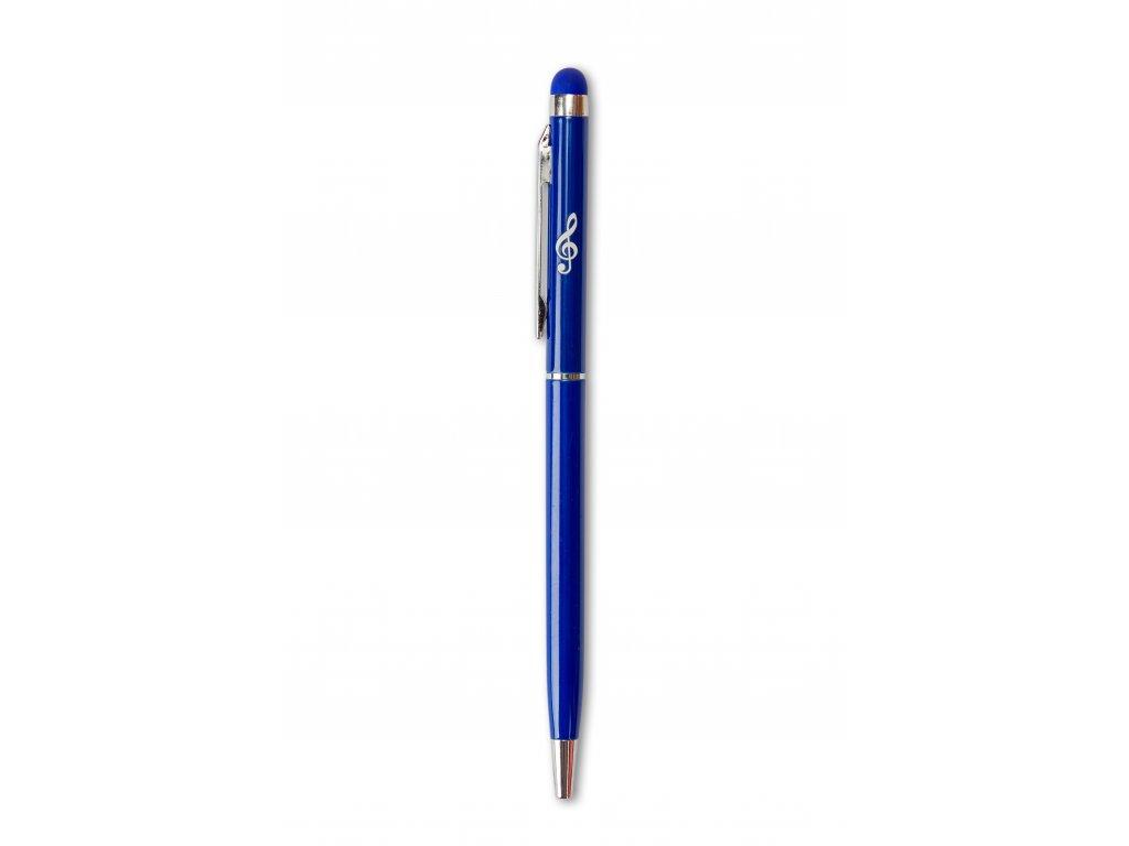 Kovové kuličkové pero se stylusem HOUSLOVÝ KLÍČ modré
