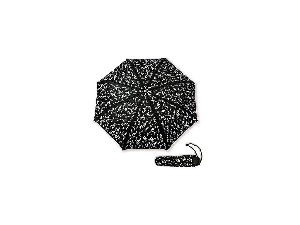 Deštník HOUSLOVÝ KLÍČ černý, skládací