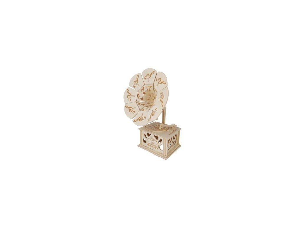 Dřevěné 3D puzzle - Gramofón