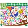 Samolepka na zeď - ptáček a noty barevné