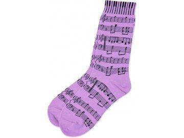Ponožky s notami dámské - lila