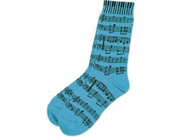 Ponožky s notami dámské - tyrkysové