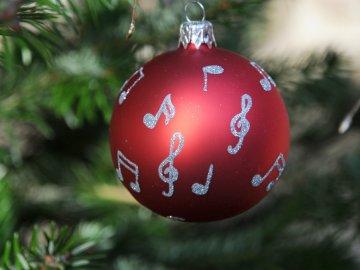 Vánoční skleněné ozdoby s notami, sada 2 ks, červené