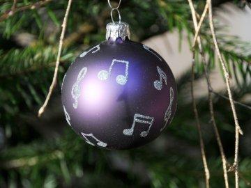 Vánoční skleněné ozdoby s notami, sada 2 ks, fialové