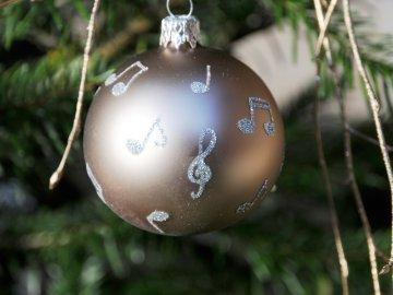 Vánoční skleněné ozdoby s notami, sada 2 ks, tmavé béžové