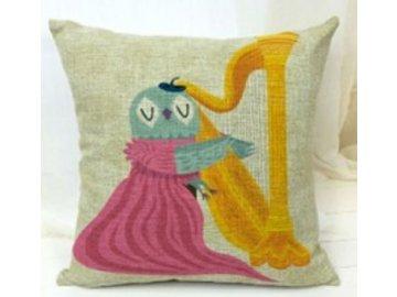 Povlak na polštářek sova s harfou