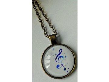 Vintage náhrdelník s modrým houslovým klíčem