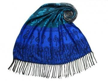 Elegantní šál s houslovými klíči - modrý