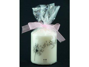 malá svíčka s notovou pampeliškou