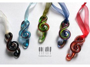 Závěsný skleněný houslový klíč - MURANO