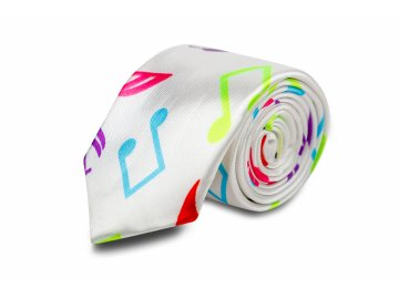 kravata bílá, barevné noty