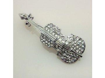 brož housle s kamínky