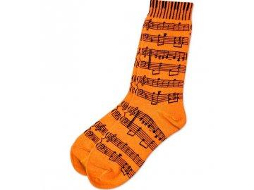 ponožky s partiturou oranžové