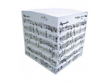 poznámkový blok kostka s partiturou