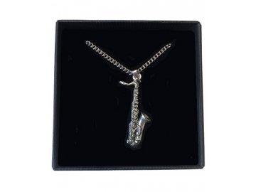 náhrdelník saxofon, řetízek hudební nástroj