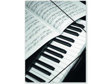 Desky hudební s klaviaturou, partitura, noty, piano, desky na noty