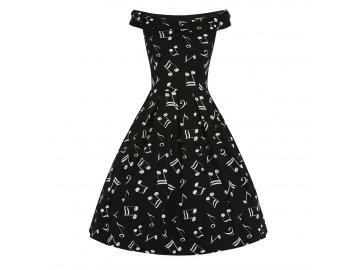 Černé šaty s notami LA MUSICA, s notami, hudba II.