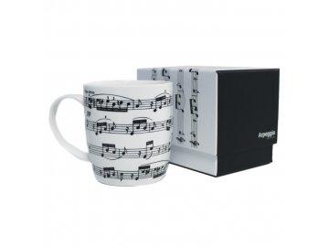 hrnek arpeggio s partiturou a notami bílý v dárkové krabičce