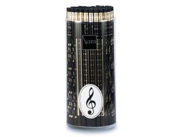 Tužka dřevěná s notami - černá
