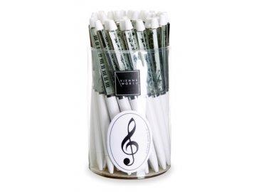 Kuličkové pero se vznášejícím se houslovým klíčem bílé