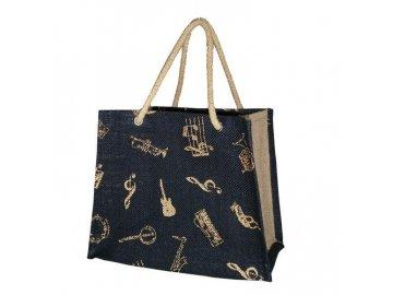 jutová taška s hudebními nástroji a notami černá