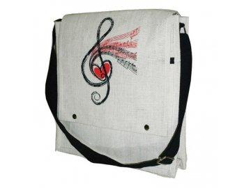 jutová taška s houslovým klíčem a srdcem, přes rameno
